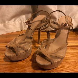 Nude Suede Stiletto Heels